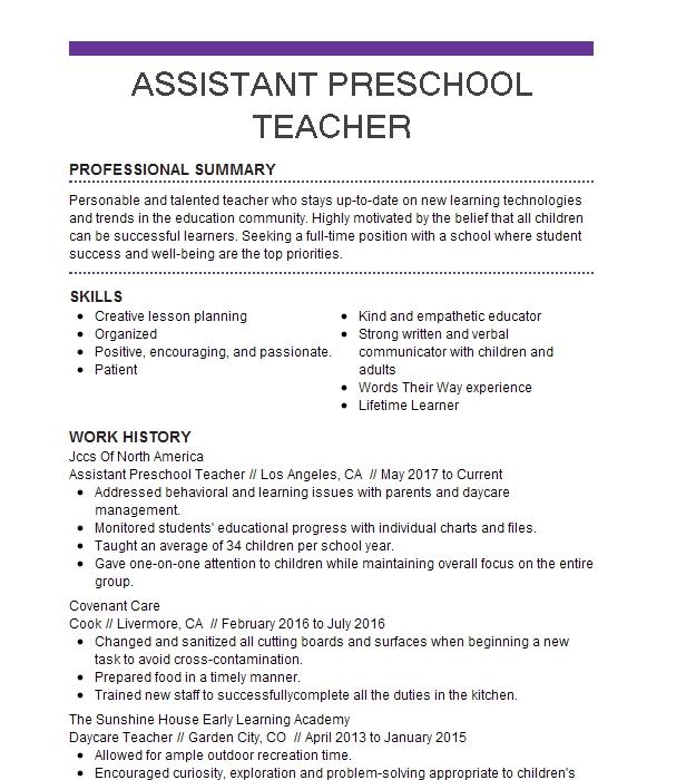 Assistant Preschool Teacher Resume Sample LiveCareer