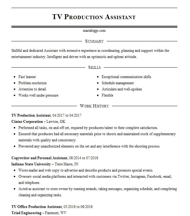 Tv Production Assistant Resume Sample Assistant Resumes LiveCareer