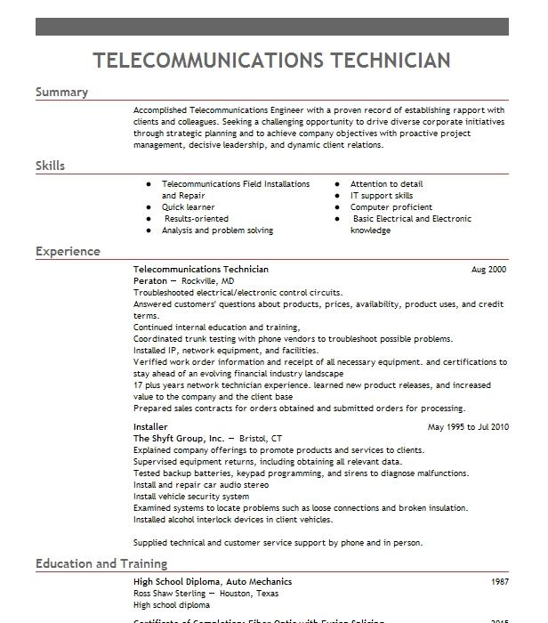 Telecommunications Technician Objectives Resume Objective LiveCareer