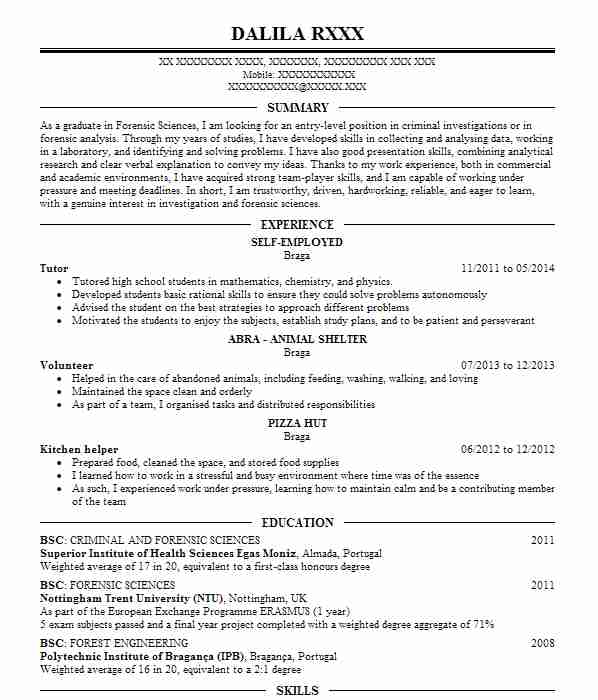 134 Forensic Scientists CV Examples Science CVs LiveCareer - forensic analyst sample resume