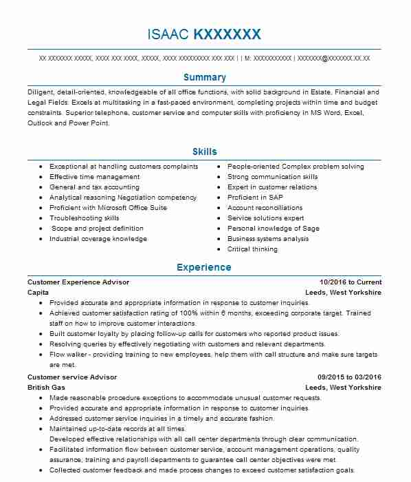I Held The Role Of A Shop Manager CV Example (Lancashire Collections