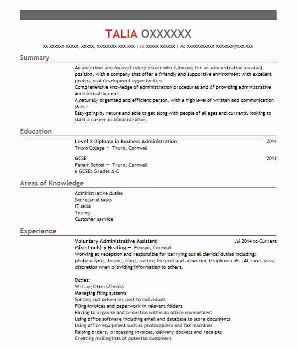 Voluntary Administrative Assistant CV Example (Mike Couldry Heating