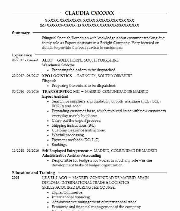 149 Shipping And Freight CV Examples Transportation And