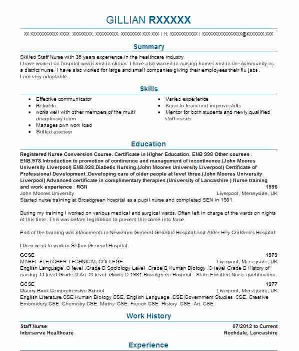 Staff Nurse Obstetrics And Gynaecology CV Example (Queen Elizabeth