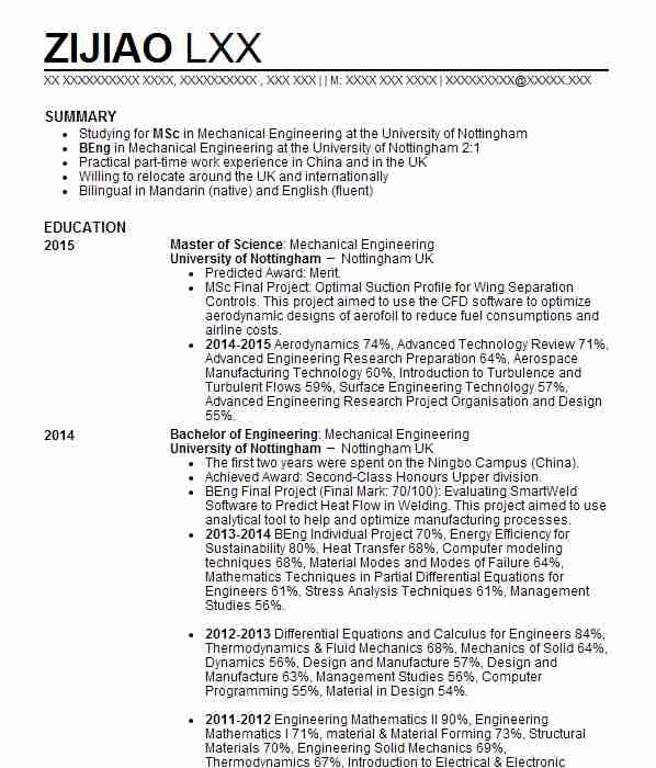 2372 Mechanical Engineers CV Examples Engineering CVs LiveCareer - Engineering Cv