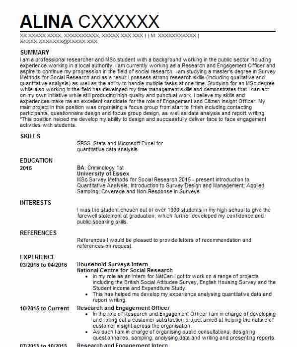 45 Research CV Examples Social Sciences CVs LiveCareer