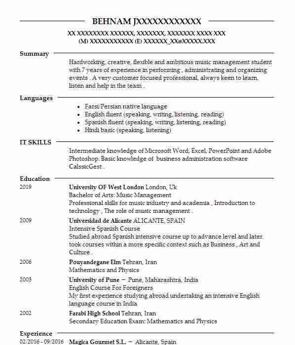 316 Singers And Musicians CV Examples Performing Arts CVs LiveCareer