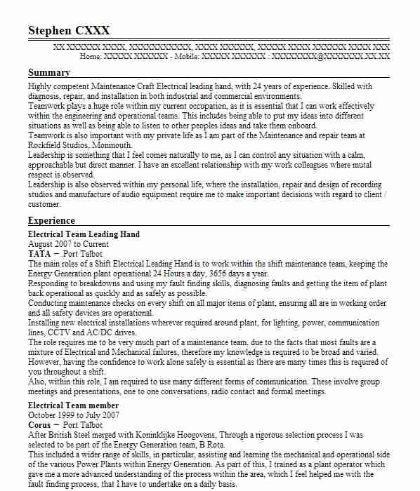 leading hand resume examples