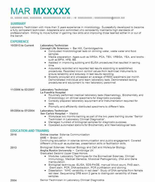 laboratory technician cv