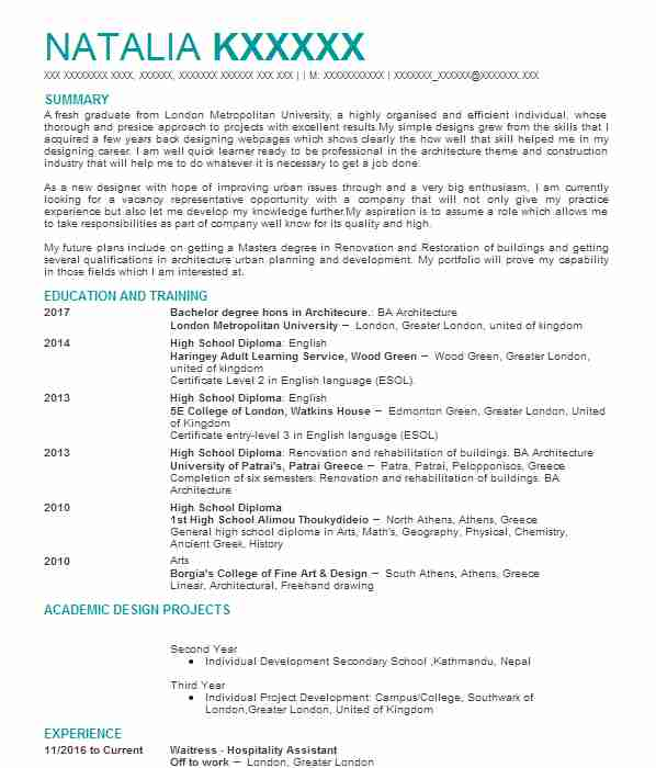 53 Urban And Regional Planning CV Examples Architecture CVs