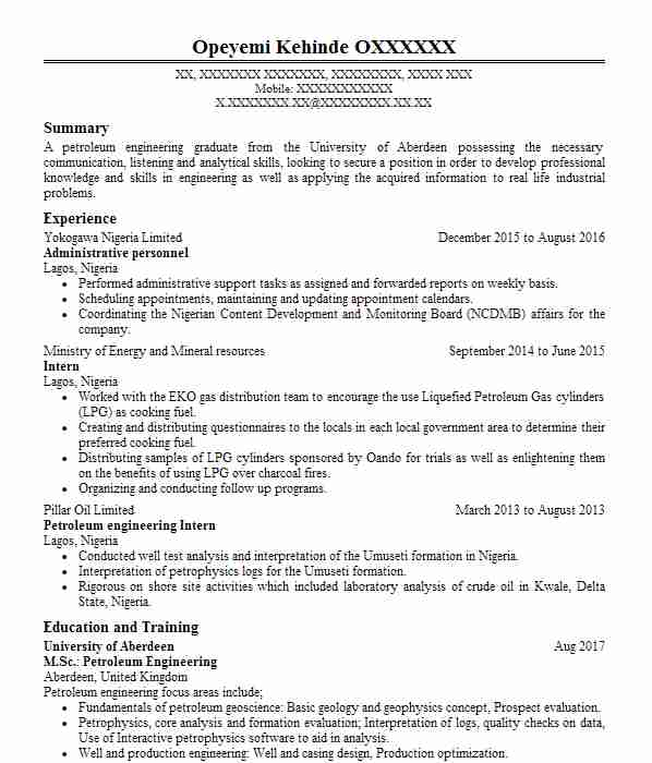 147 Petroleum Engineers CV Examples Engineering CVs LiveCareer