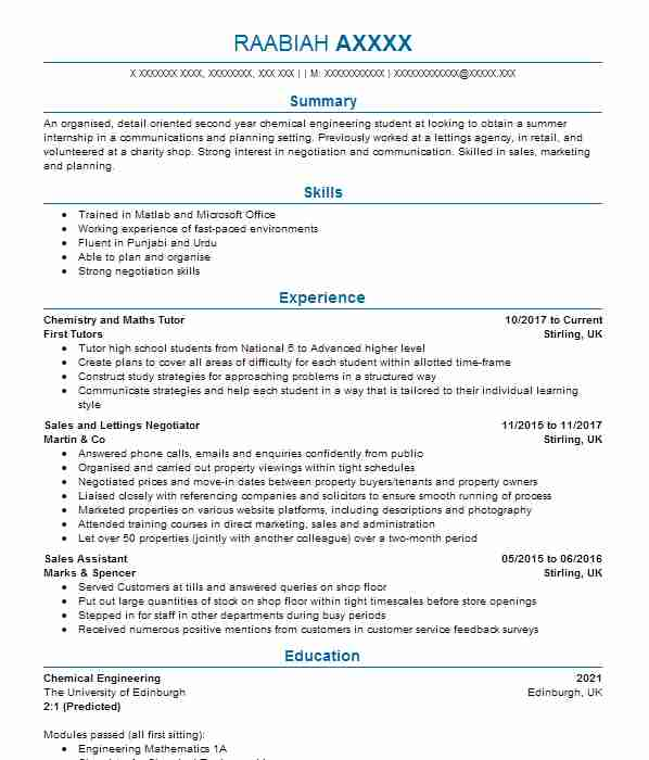 198 Chemical Engineers CV Examples Engineering CVs LiveCareer