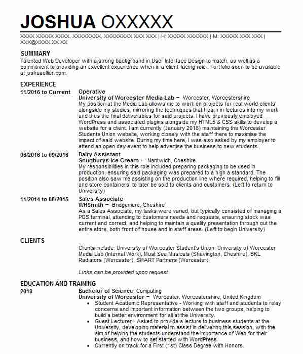 Cashier, Shelf Stacker, Costumer Assistant CV Example (Tesco Express - tesco cv