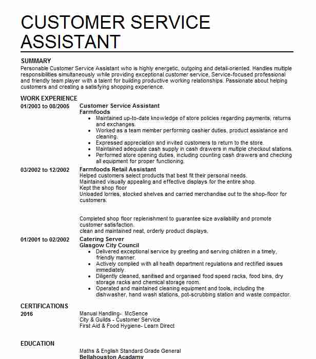 Customer Service Assistant CV Example (Farmfoods) - Anderston, Glasgow