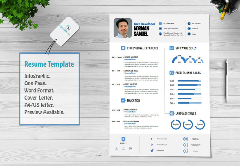 Best - Infographic Resume Template with Cover Letter Template