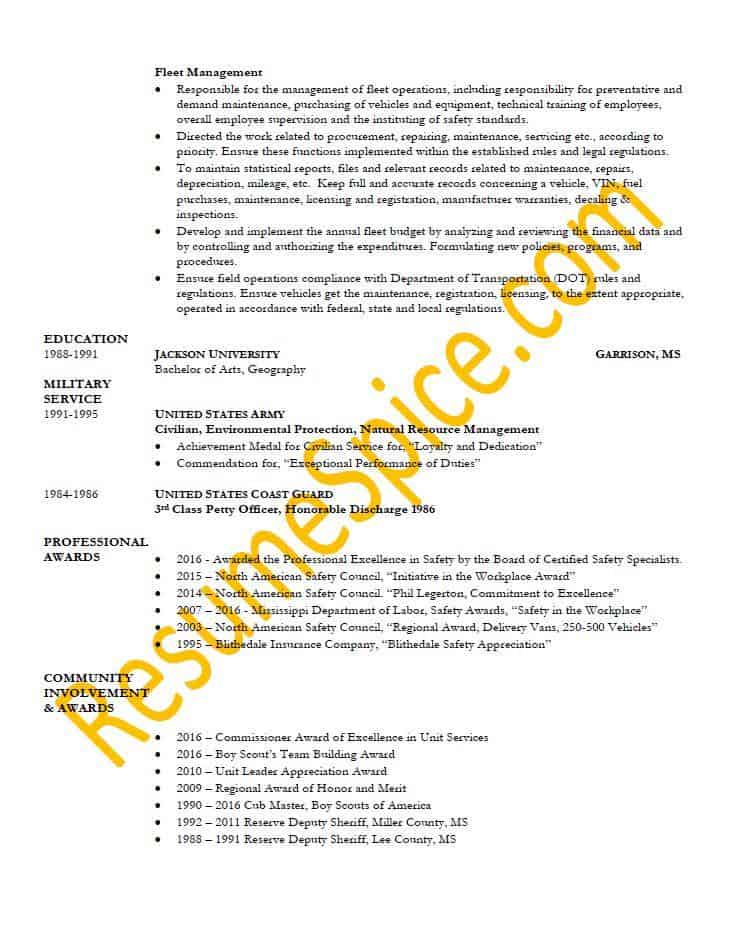Best Resume Samples for Executives and Professionals ResumeSpice - environmental protection specialist sample resume