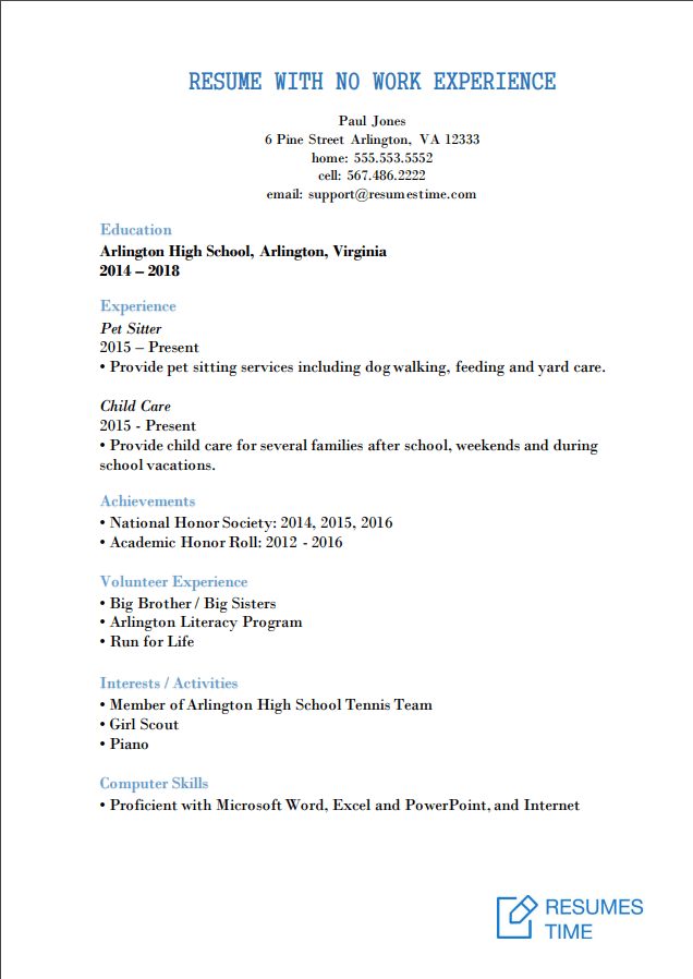 resume examples for students with work experience