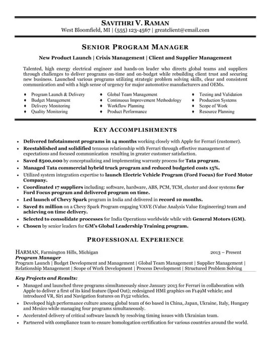 Resume Samples Best Resume Writing Services Hire Resume Writer - program manager resume sample