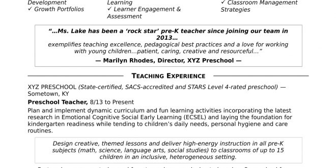 Pre K Teacher Resume Examples - Resume Templates - Pre K Teacher Resume