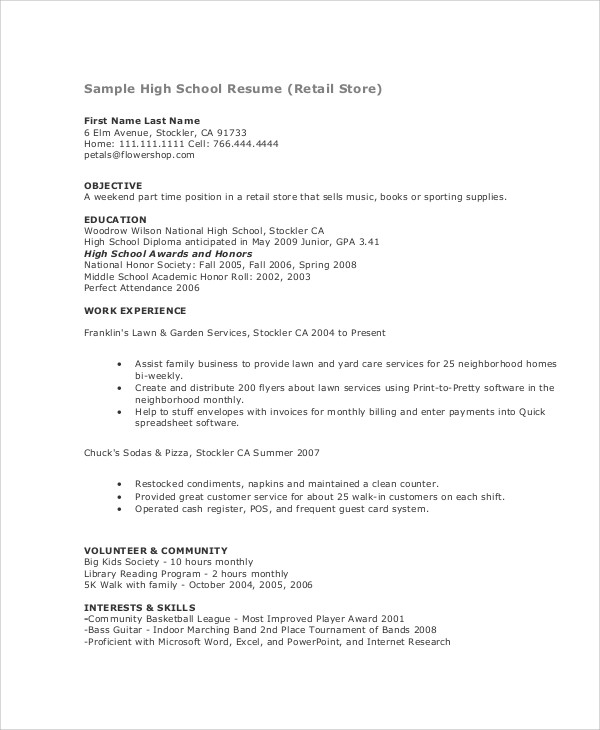 resume samples for teenagers jobs