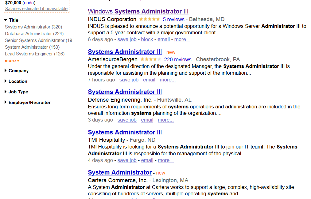 English resume system administrator