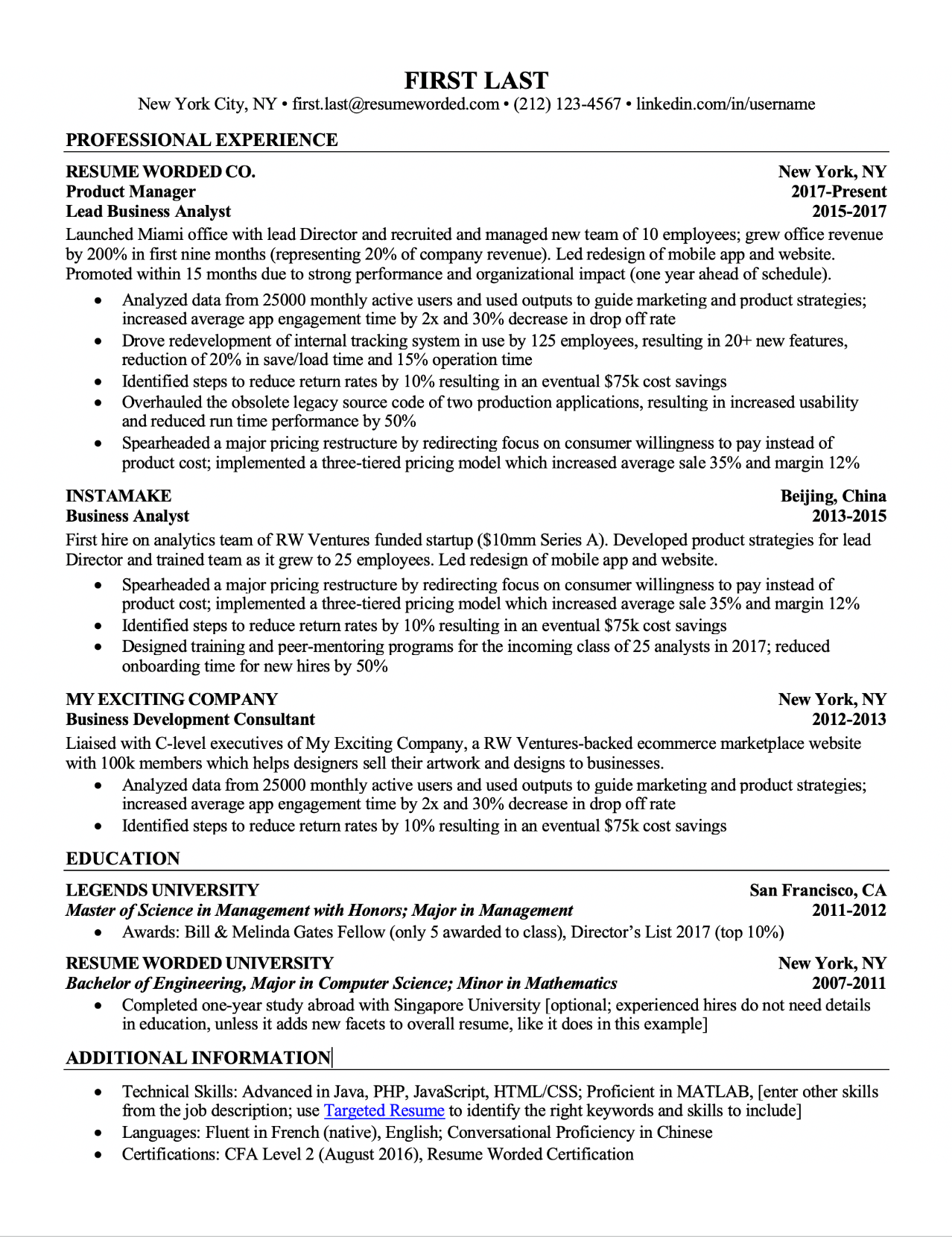 experienced resume format