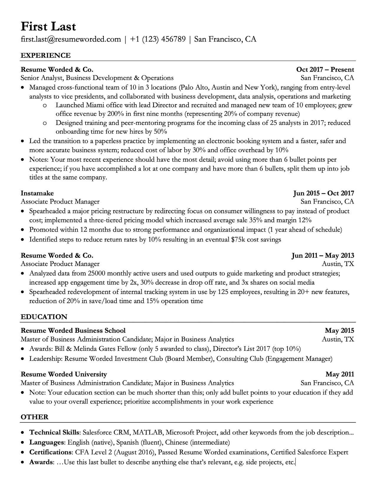 cv i have worked in english on several projects