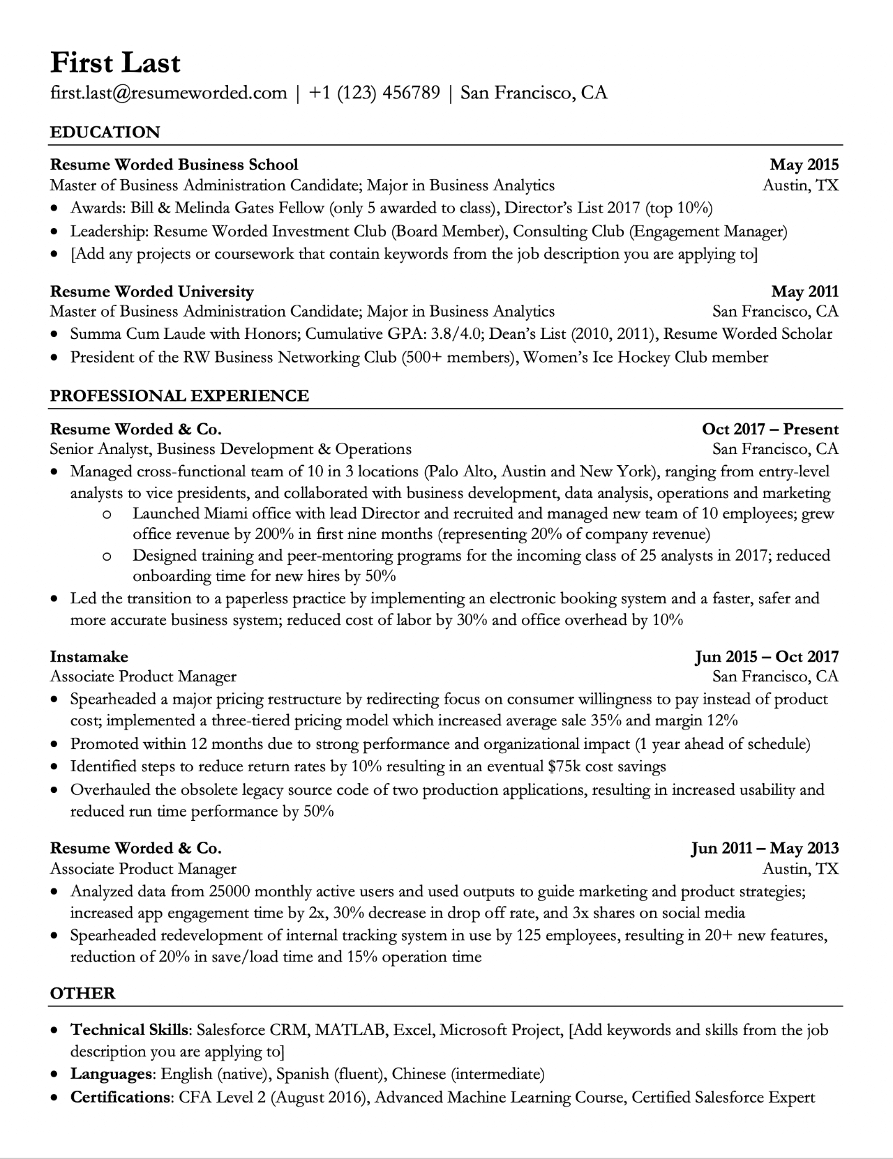 resume format to pass ats