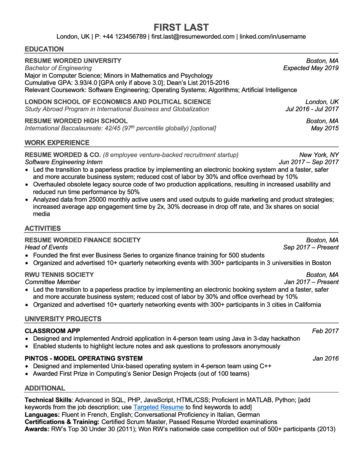 free sample of resumes for students