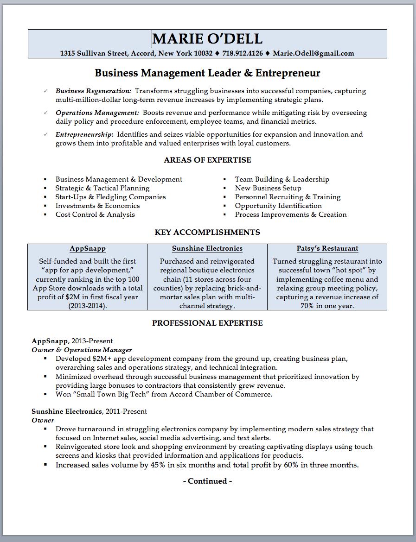 restaurant business owner resume sample