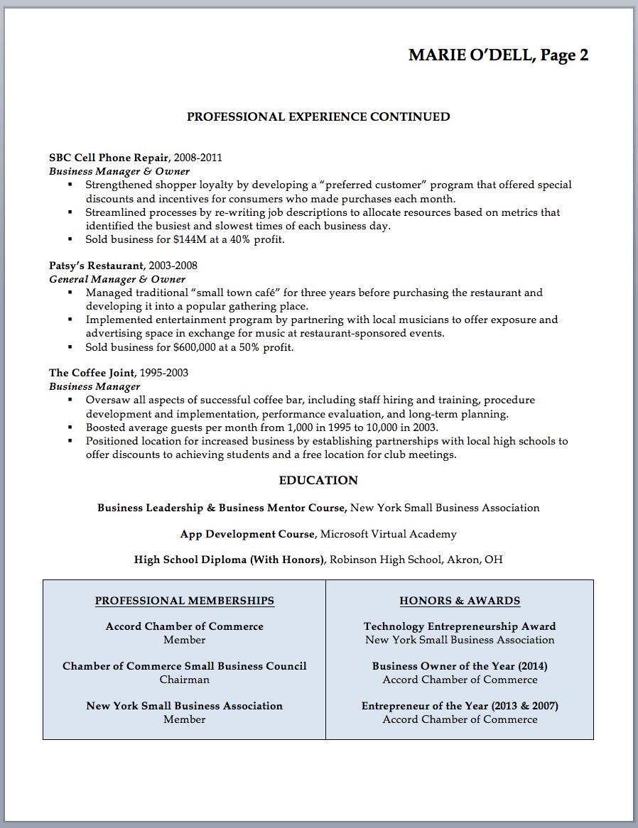 business resume