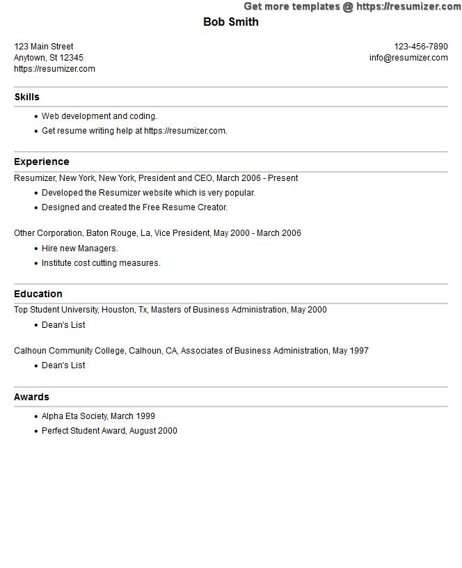 resume creator program
