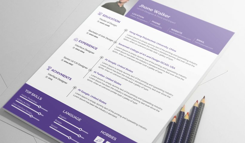 Free resume template psd clean and simple design print ready - free resume template design