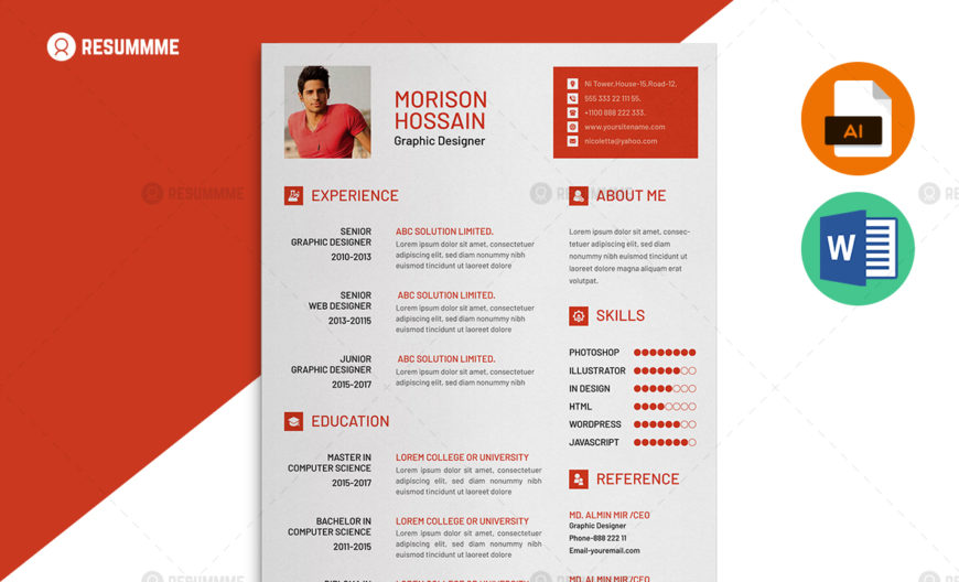 Best Resume Templates MS Word, PSD, AI Resummme
