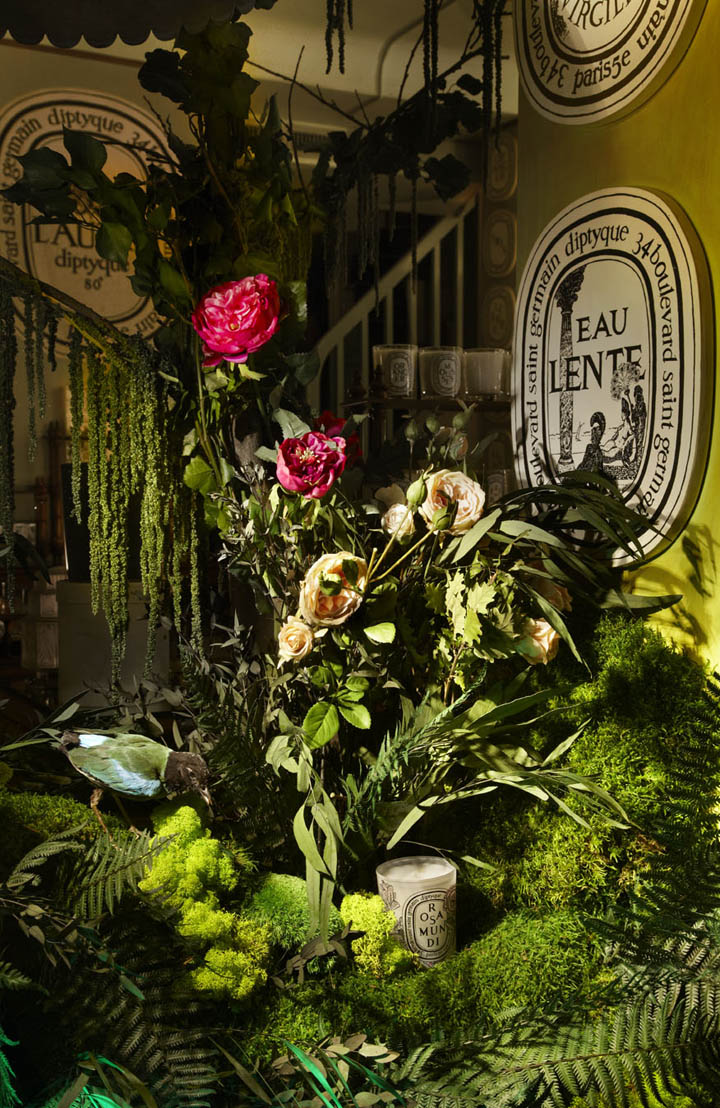 Concept Store Düsseldorf » Diptyque Flower Window Displays By Alexandre Roussard, Paris