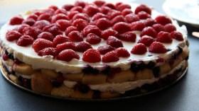 Tort cu mascarpone, fructe si piscoturi de sampanie
