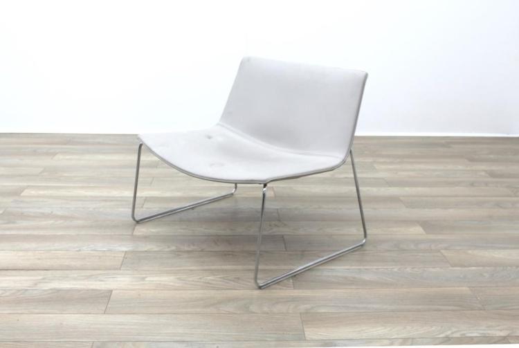Arper Catifa 80 Sled Grey Leather Reception Chair Grey