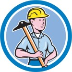 hard hat guy in blue circle by vectorolie