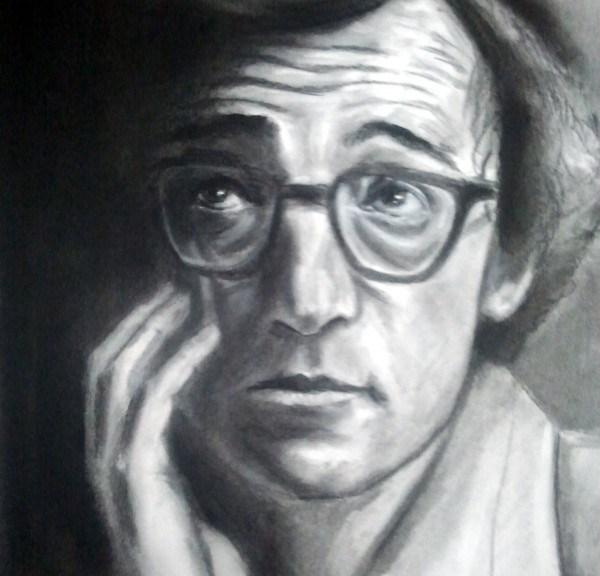 Woody Allen 1969, retrato a carboncillo, autor: Jose Manuel Gallego Garcia