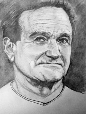 Robbin Williams, retrato a lápiz, autor: Jose Manuel Gallego Garcia, visita: retratarte.org