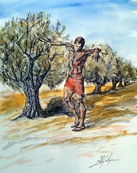 El-vareador-acuarela-y-tinta-autor-Jose-Manuel-Gallego-Garcia-visita-retratarte.org