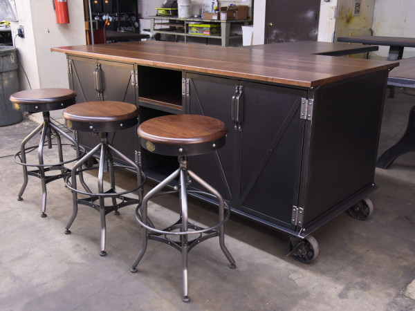 Kitchen Island With Locking Casters Ellis Kitchen Island | Vintage Industrial Furniture