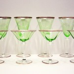 Stunning Art Deco Period Colored Crystal Wine Stems.