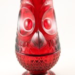 Vintage glass owl 2 piece Glimmer Candlelightt in ruby by Viking Art Glass. Original old catalog part #6900.