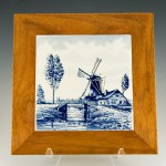 Original Delft tile made in Holland. Beautiful color and intricate detail of the famous Dutch windmill scene.