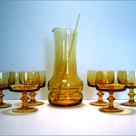 Beautiful mid-century modern blown glass cocktail set.