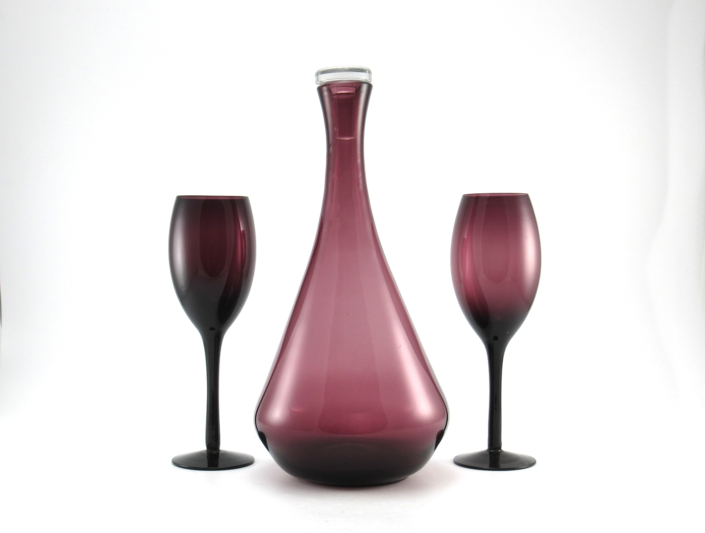 Decanter Wine Glas Vintage Amethyst Glass Decanter And Stemware Set