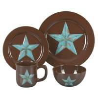 Laredo Star Western Decor Stoneware Dinnerware Set 16 pieces
