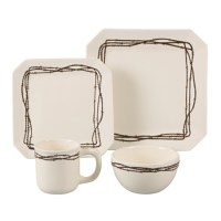 Barbwire Stoneware Western Dinnerware Set 16 Pieces