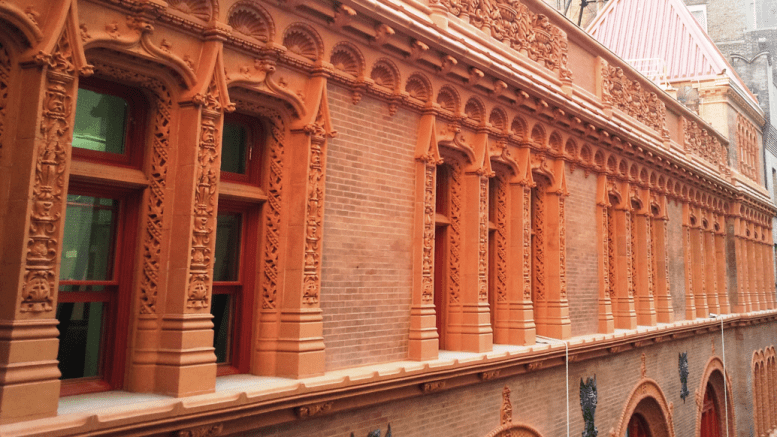 The scope of work included documentation and assessment of each individual terracotta units and cast iron parts on the building.
